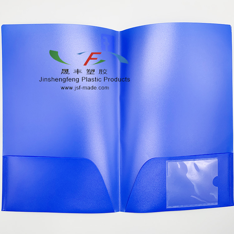 Blue Twill Plastic File Folder With Clear Inserts,Blue